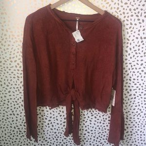 Free People Button Down Tie Blouse Flare Sleeves